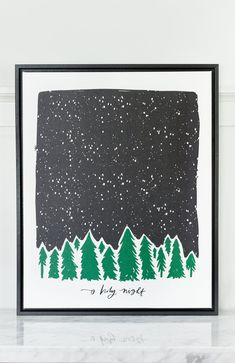 The Starry Sky O Holy Night canvas features a row of evergreens and a sketchy, snowy sky set the tone for a peaceful winter's o holy night available exclusively at Lindsay Letters.