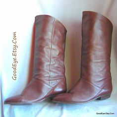 Vintage Flat PIXIE Knee Boots / Size 10 M Eu 42 UK 7 .5 / Flat Pirate Cuff Slouch Boot / Chocolate Brown Leather / MISTER made Argentina by GoodEye on Etsy