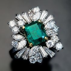 Emerald, Diamond, Platinum and 18K Gold Ring