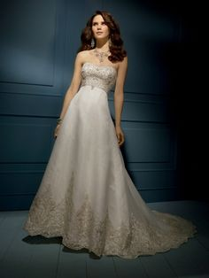 A-line Sweetheart Organza Satin Chapel Train Ivory Embroidery Wedding Dresses