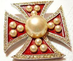 """Vintage Marvella Brooch Pin Maltese Cross Rhinestones Faux Pearls & Red Enamel Silver Metal 2"""" VG"""