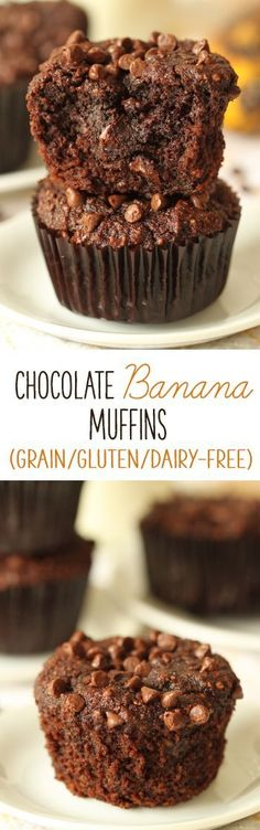 These dairy-free, gluten-free, grain-free chocolate banana muffins are bursting with banana flavor and are super rich and decadent! Theyre also naturally sweetened with honey.