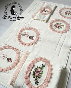 This Pin was discovered by Ley Hobbies And Crafts, Diy And Crafts, Cross Stitch Embroidery, Cross Stitch Patterns, Japanese Gifts, Decorative Towels, Bargello, Towel Set, Quilt Making