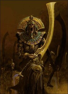 Tomb Wardens, the Great Undead that rules over the ancient crypts of the Northern Great Desert - Warhammer Fantasy Kunst, Fantasy Rpg, Dark Fantasy Art, Fantasy Artwork, Warhammer Fantasy, Warhammer Tomb Kings, Fantasy Monster, Monster Art, Arte Obscura