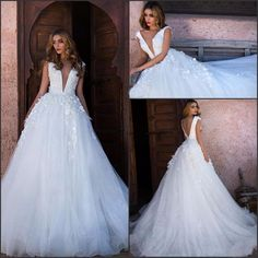 Sexy Design Deep V Neck Tulle A-Line Wedding Dresses 2017 Vestido De Noiva Appliques Backless Sweep Train Wedding Gowns X-225
