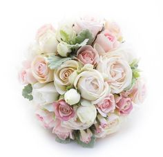 An extra large posy of pink/cream Garden Roses, champagne Paris Roses and fresh touch roses, with dusty miller leaves.
