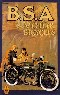 Vintage BSA Motorcycles Giclee Art Print