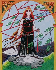 Urd is one of the three Norns (goddess of Fate) in Heathen mythology. She is shown here standing beside the well which bears her name which lies beneath the world tree. For more information of on the symbolism see the notes on the image.