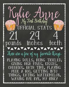 Personalized Chalkboard First Year or Any Age by TwoLaughingLambs