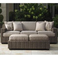 Tommy Bahama Blue Olive 3-Person Wicker Patio Deep Seating Set