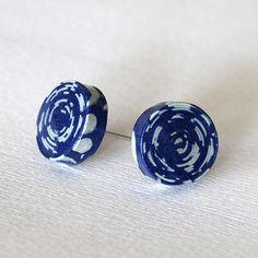 Navy Blue Paper Stud Earrings / Paper Jewelry / by juliedyecraft, $18.00