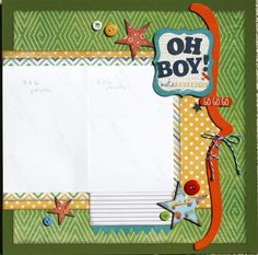 Premade Scrapbook Page 12 x 12 boy Layout - Oh Boy. $10.00, via Etsy.