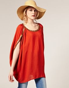 Embellished cape sleeve top at ASOS.