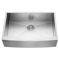 Alma 33 inch Farmhouse Apron 16 Gauge Stainless Steel Kitchen Sink