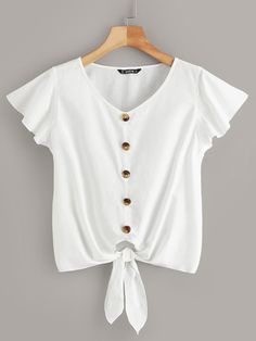 Button Detail Tie Front Ruffle Armhole Top Shop [good_name] at ROMWE, discover more fashion styles online. Dressy Tops, Mode Outfits, Fashion Outfits, Fashion Styles, Feminine Mode, Vacation Dresses, Summer Shirts, Summer Blouses, Blouse Dress