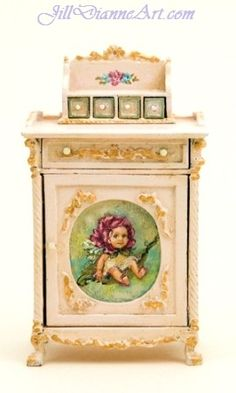 Little Hand-painted Baby Fairy Cupboard by JillDianneArt on Etsy.