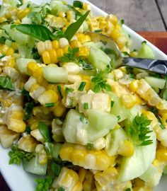 Basil Chive Cucumber & Corn Salad by sumptuousspoonfuls -- Bring on the Spring/Summer recipes! Cucumber Recipes, Veggie Recipes, Salad Recipes, Vegetarian Recipes, Cooking Recipes, Summer Vegetable Recipes, Recipes With Cucumbers, Corn And Cucumber Salad Recipe, Best Healthy Recipes