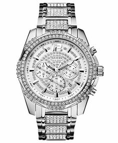 GUESS Watch, Men's Chronograph Crystal-Accent Stainless Steel Bracelet 47mm U0291G1