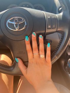 Turquoise Acrylic Nails, Neon Blue Nails, Summer Nails Neon, Classy Acrylic Nails, Acrylic Nails Coffin Short, Summer Acrylic Nails, Jamaica Nails, Wave Nails, Nails For Kids