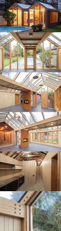This rather impressive studio would make a perfect workshop, shed, greenhouse, or cabin retreat with plenty of light from the large windows in the roof and walls. The timber frame construction is chestnut glulam built by Inwood, a UK company that specializes in exceptional quality glulam hardwoods. The design is by James Wyman Architects. http://www.ajbuildingslibrary.co.uk/projects/display/id/6796