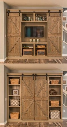 Barn Door Projects that Will Make You Want to Remodel Bookshelves and sliding-door entertainment center. Old style stain techniqueBookshelves and sliding-door entertainment center. Old style stain technique Diy Décoration, Diy Tv, Interior Barn Doors, Basement Remodeling, Remodeling Ideas, Bedroom Remodeling, Remodeling Companies, My Dream Home, Home Projects