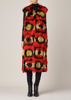 Marni | RED ALPACA WAISTCOAT | If this came in faux fur, I'd be all over it