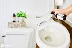 """Learn how to make your own toilet odor spray (a la """"Poo-pourri""""). The all-natural formula is powered by essential oils. Odor be gone! Diy Cleaning Products, Cleaning Hacks, Oven Cleaning, Homemade Products, Cleaning Recipes, Homemade Mouthwash, Toilet Spray, Glass Spray Bottle, Linen Spray"""