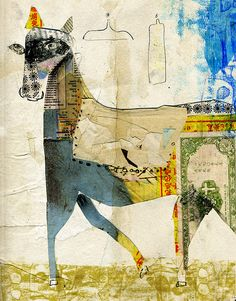 Collage - Andrea D'aquino - I love how she complements the collage with pen outlines.