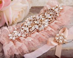 Blush Pink Wedding Garter Set Blush Bridal Garter by GarterQueen