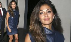 Nicole Scherzinger puts on a leggy display in blue leather dress