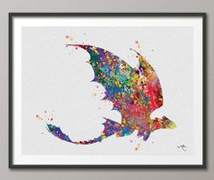 Toothless Fury How to train your DRAGON Watercolor  Art Print Wall Art Poster Wall Decor Art Home Decor Wall Hanging [NO 265]