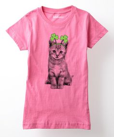 Look at this Raspberry Shamrock Kitten Tee - Girls on #zulily today!