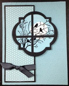 Stampin' Up! Products used: Serene Silhouettes Wood Clear Window Frames Framelits Die Fancy Fan Embossing Fold. Flip Cards, Cute Cards, Serene Silhouettes, Stamping Up Cards, Bird Cards, Get Well Cards, Sympathy Cards, Creative Cards, Greeting Cards Handmade