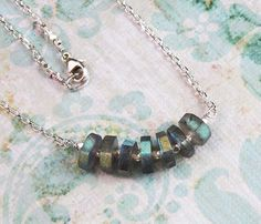 Labradorite Sterling Silver Bead Chain Necklace DJStrang Boho Cottage Chic Color Flashing Gemstone Blue Green by DJStrang on Etsy https://www.etsy.com/listing/62614983/labradorite-sterling-silver-bead-chain