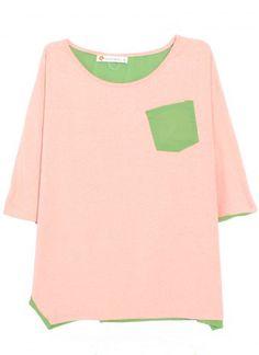 SheInside : Pink Green Round Neck Batwing Sleeve Loose Cotton Shirt $36.16