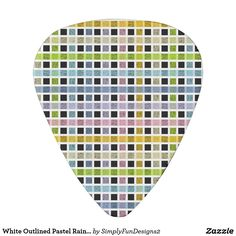 White Outlined Pastel Rainbow Weave Guitar Pick