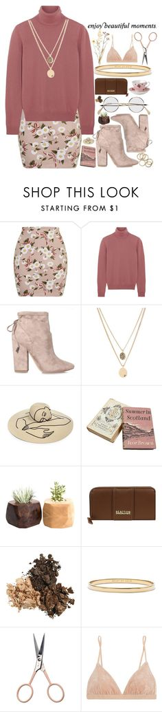"""""""floral skirt w/ booties"""" by kianahall ❤ liked on Polyvore featuring Topshop, Bottega Veneta, Kendall + Kylie, Kenneth Cole, Eugenia Kim, Royal Albert, Kate Spade, Anastasia Beverly Hills and Base Range"""