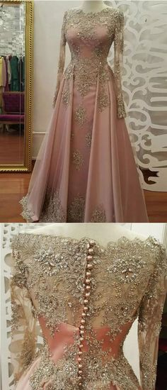 2018 A-line Prom Dresses Scoop Long Sleeve Pink Applique Long Prom Dress Evening Dresses prom dresses long,prom dresses lace,prom dresses a line,prom dresses modest,prom dresses dresses satin,prom dresses applique, prom dresses with sleeve dress pink Classy Prom Dresses, Gorgeous Prom Dresses, Junior Prom Dresses, Simple Prom Dress, Prom Dresses For Teens, Elegant Prom Dresses, A Line Prom Dresses, Cheap Prom Dresses, Unique Dresses
