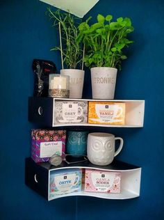 Wall shelves for tea made out of IKEA's $10 KNUFF Magazine Files | Apartment Therapy