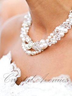 Pearl Crystal Bridal Necklace chunky wedding by CrystalAvenues, $118.00