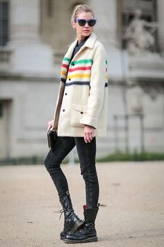 31 Winter Outfit Ideas - Your Daily #OOTD Inspiration for This Winter: Hudson Bay Coat and Black Jeans