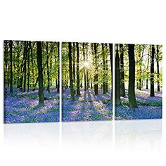 Hello Artwork - Lavender Forest Canvas Print Wall Decor Contemporary Art Modern 3 Panel Wood Mounted Giclee Canvas Artwork for Living Room Office Decoration Ready to Hang