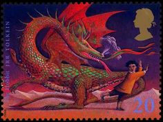 """The hobbit from """"Magical Worlds"""" UK postage stamp series."""