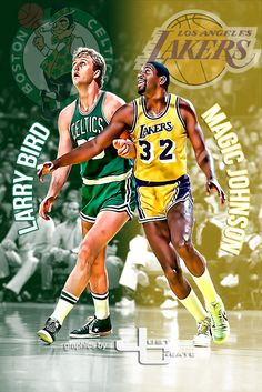Larry Bird's Boston Celtics and Magic Johnson's graphics by justcreate Sports Edits