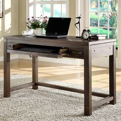 Have to have it. Riverside Promenade Writing Desk with Optional Chair - Warm Cocoa - $639 @hayneedle