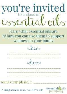 Custom Essential Oil Class Invitation by OneDropDesigns on Etsy