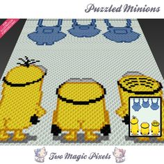 Puzzled Minions is a graph pattern that can be used to crochet a blanket using C2C (Corner to Corner), TSS (Tunisian Simple Stitch) and other techniques. Alternatively, you can use this graph for knitting, cross stitching and other crafts. This graph design is 80 squares wide by 100 squares high. It requires 8 colors. Pattern PDF includes: - color illustration for reference - color square pattern Image only, no written counts. This listing is for a digital pattern only. The PDF file o...