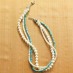 "The pearl strands, respectively strung with 5mm and 8mm freshwater pearls, gently contrast the matching length of 5mm turquoise beads.  17.5""l."