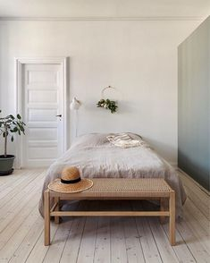 Earthy, pared back bedroom in An Elegant Danish Family Home in The Heart of Copenhagen Mt Design, Home Bedroom, Calm Bedroom, Bedrooms, Bedroom Ideas, Master Bedroom, Danish Style, Scandinavian Home, Vintage Table