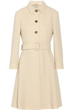 Miu Miu Belted Wool Crepe Coat